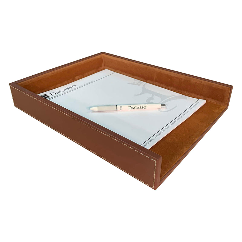 Rustic Brown Leather Letter Tray