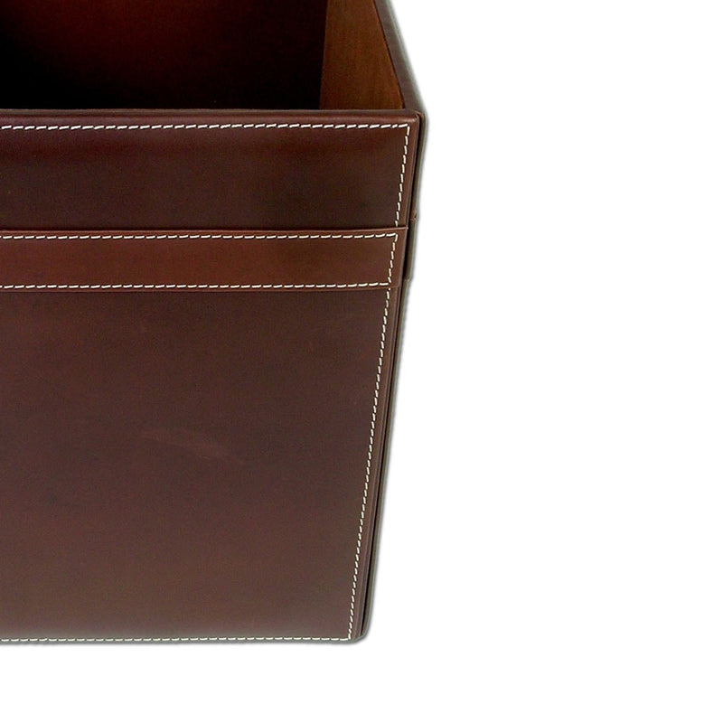 Rustic Brown Leather Square Waste Basket