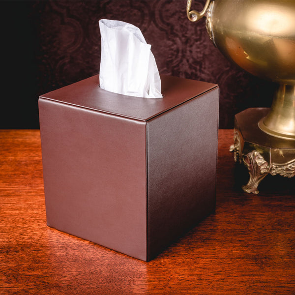 Chocolate Brown Leatherette Tissue Box Cover