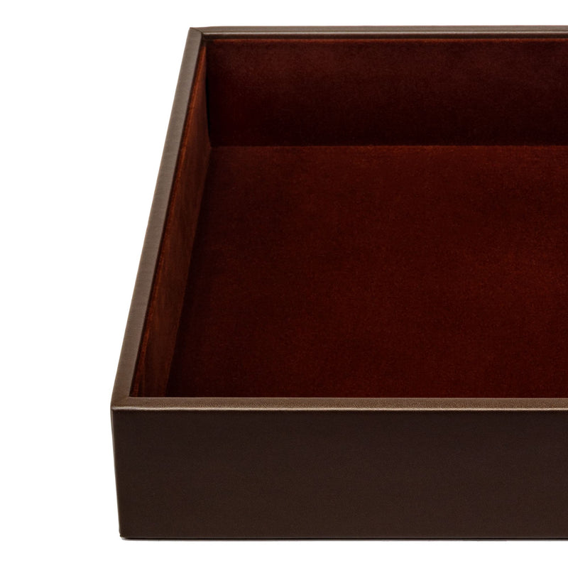 Chocolate Brown Leatherette Conference Room Organizer Tray