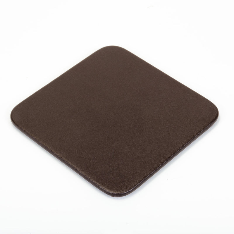 Chocolate Brown Leatherette 10 Square Coaster Set with Holder