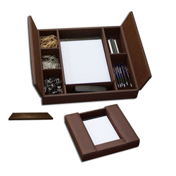Chocolate Brown Leatherette Enhanced Conference Room Organizer