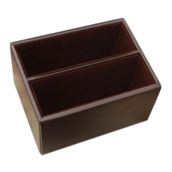 Chocolate Brown Leather 10pc Coaster Holder