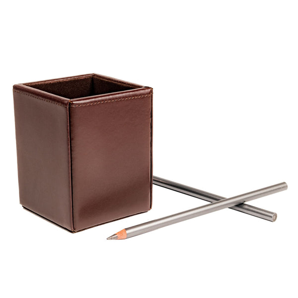 Dark Brown Bonded Leather Pencil Cup