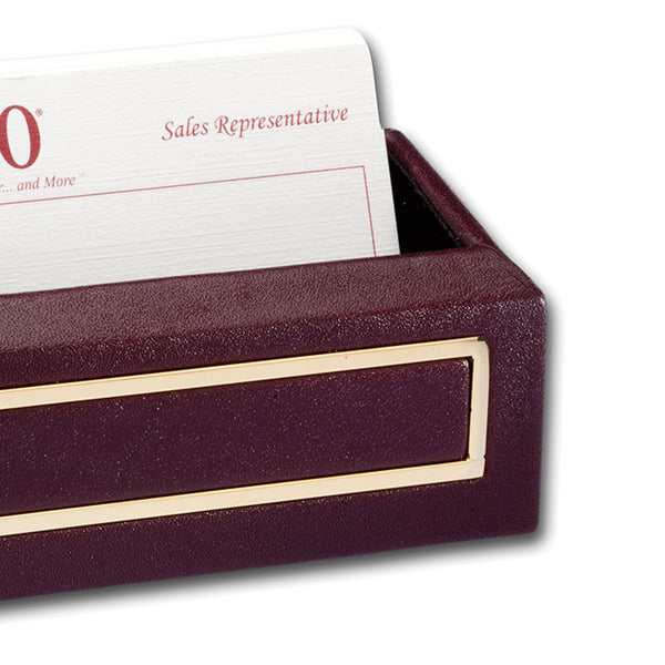 Burgundy 24Kt Gold Tooled Business Card Holder