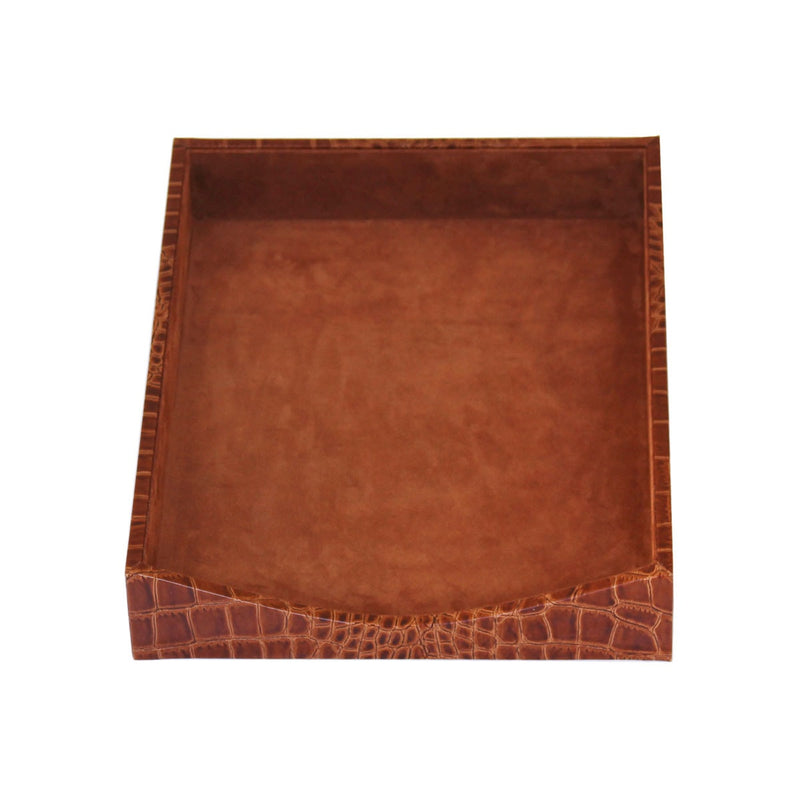 Protacini Cognac Brown Italian Patent Leather Front-Load Letter Tray
