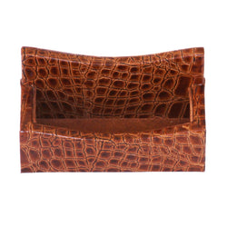 Protacini Cognac Brown Italian Patent Leather Business Card Holder