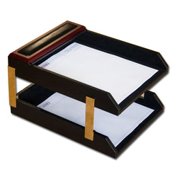 Rosewood & Leather Double Letter Trays