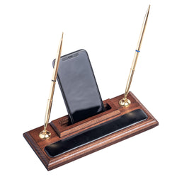 Walnut and Leather Pen Stand with Cell Phone Holder