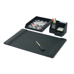 Black Leather 4-Piece Desktop Organizer Desk Set