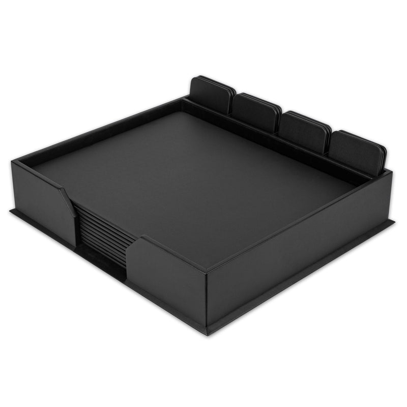 Black Leatherette 23-Piece Conf. Room Set with Square Coasters