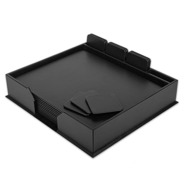 Black Leather 23-Piece Conf. Room Set with Square Coasters