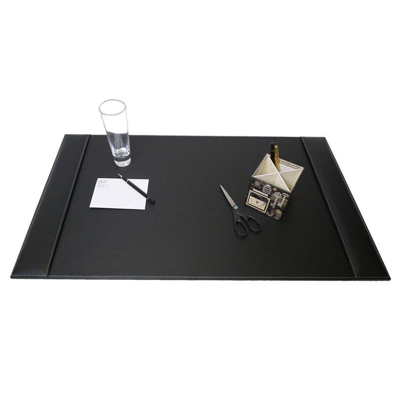 Rustic Black Leather 3-Piece Desk Set