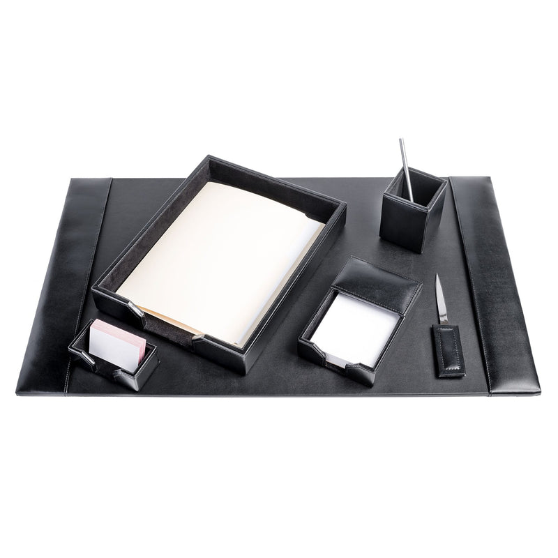 Black Bonded Leather 6-Piece Desk Set