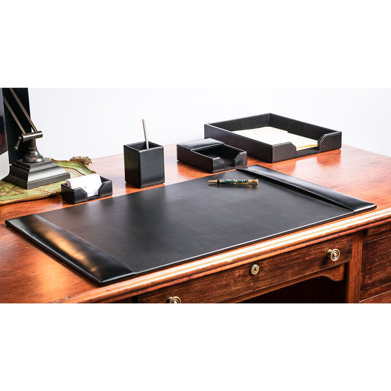 Black Bonded Leather 5-Piece Desk Set