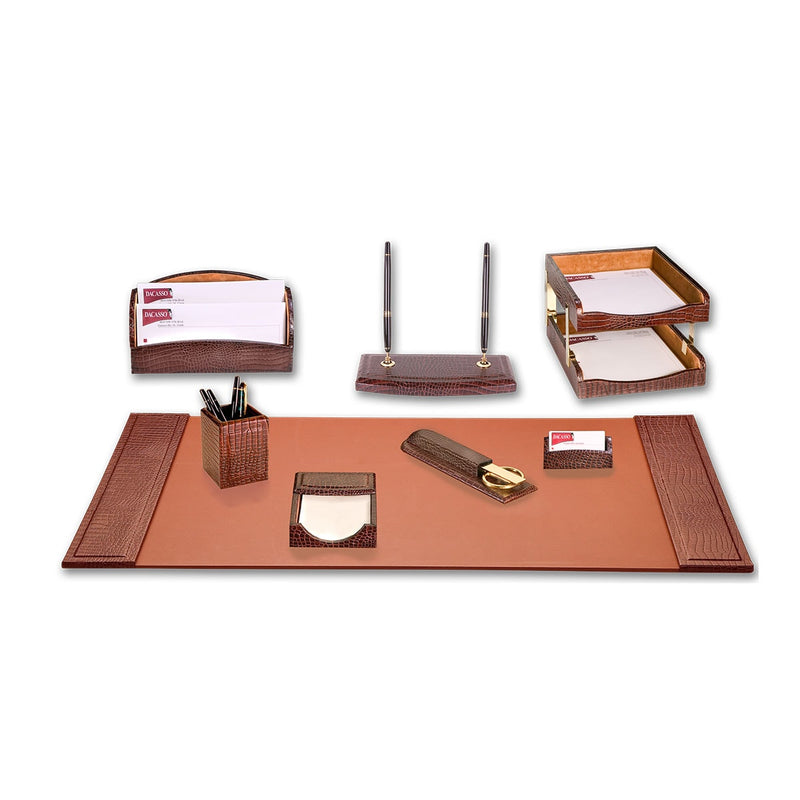 Brown Crocodile Embossed Leather 10-Piece Desk Set