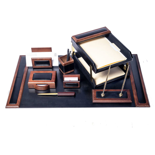 Walnut & Leather 10-Piece Desk Set