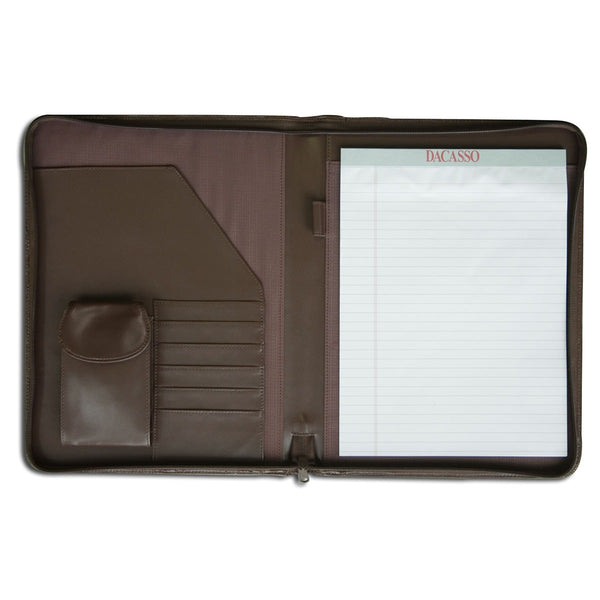 Chocolate Brown Leather Deluxe Letter-Size Zip-Around Portfolio