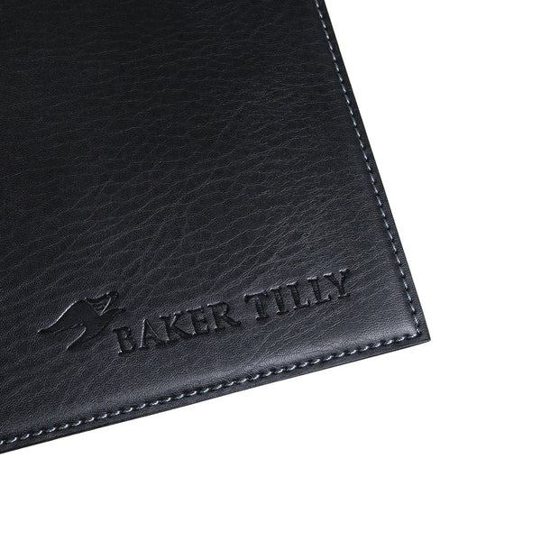 "Black 17"" x 12"" Leatherette Square Corner Placemat"