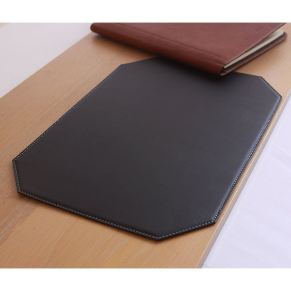 "Black 17"" x 12"" Leatherette Cut Corner Placemat"