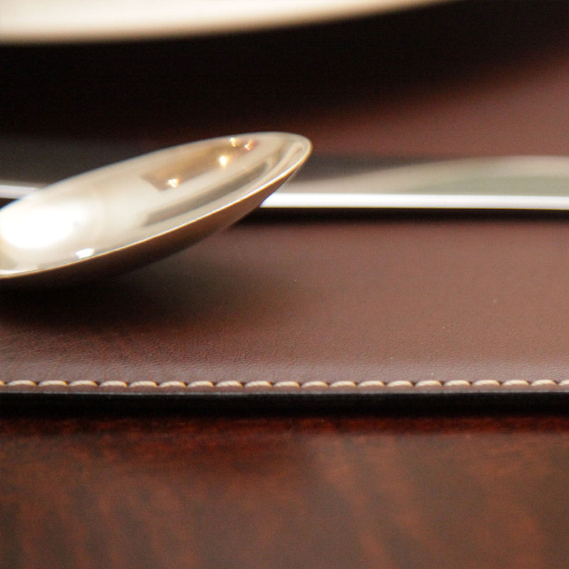 "Brown 17"" x 12"" Leatherette Square Corner Placemat"