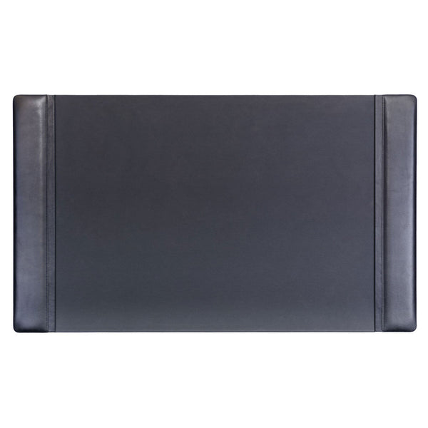Black Leather 34 x 20 Side-Rail Desk Pad