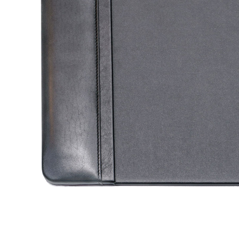 "Black Leather 34"" x 20"" Side-Rail Desk Pad"