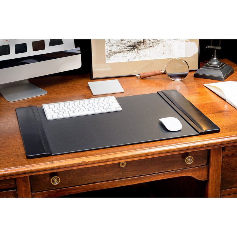 "Black Leather 25.5"" x 17.25"" Side-Rail Desk Pad"