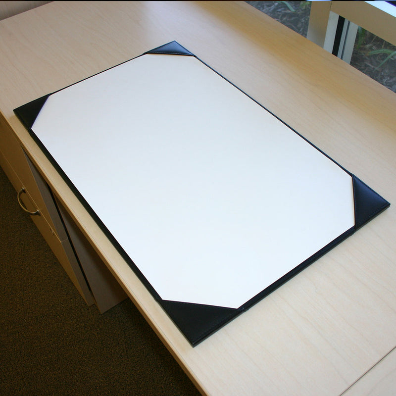"Black Leather 38"" x 24"" Desk Pad with Blotter Paper"
