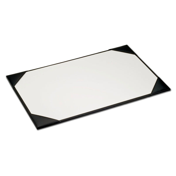 "Black Leather 22"" x 14"" Desk Pad with Blotter Paper"