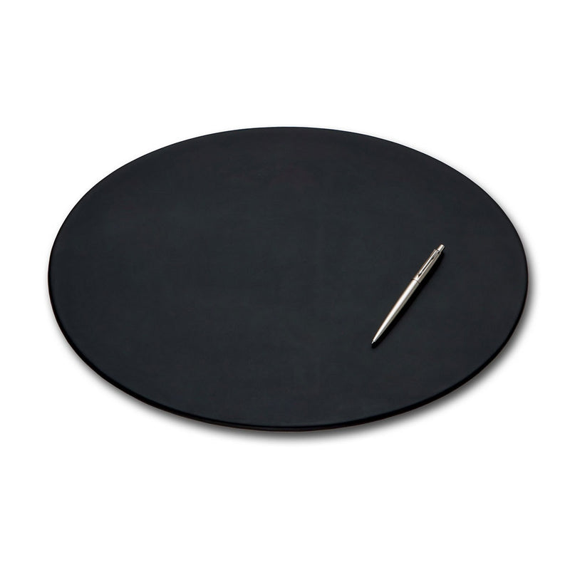 "Black Leather 17"" x 14"" Oval Conference Pad"
