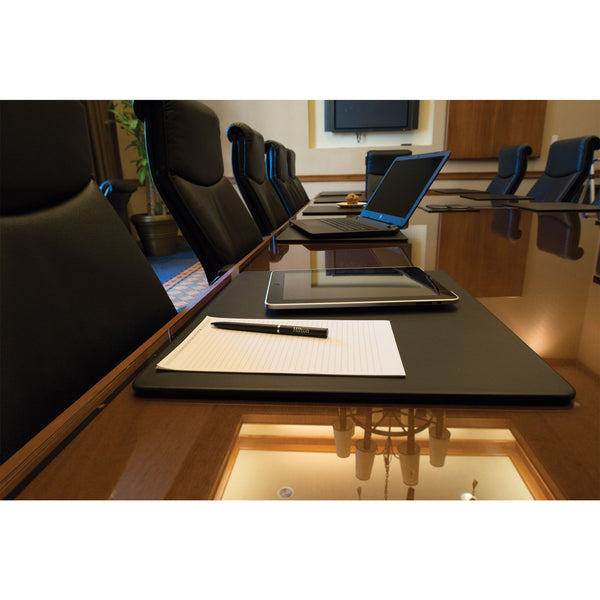 "Black Leatherette 17"" x 14"" Conference Table Pad"