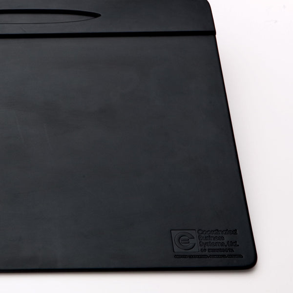 "Black Leather 17"" x 14"" Top-Rail Conference Pad with Pen Well"