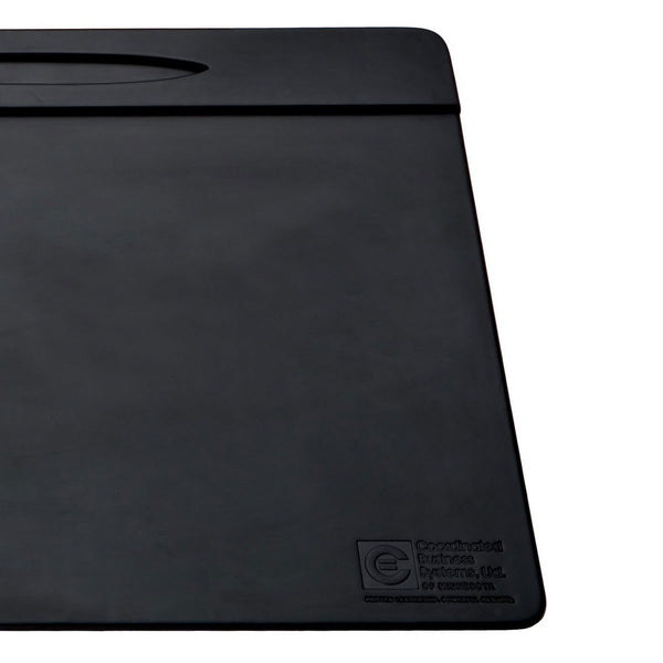 "Black Leatherette 17"" x 14"" Top-Rail Conference Pad with Pen Well"