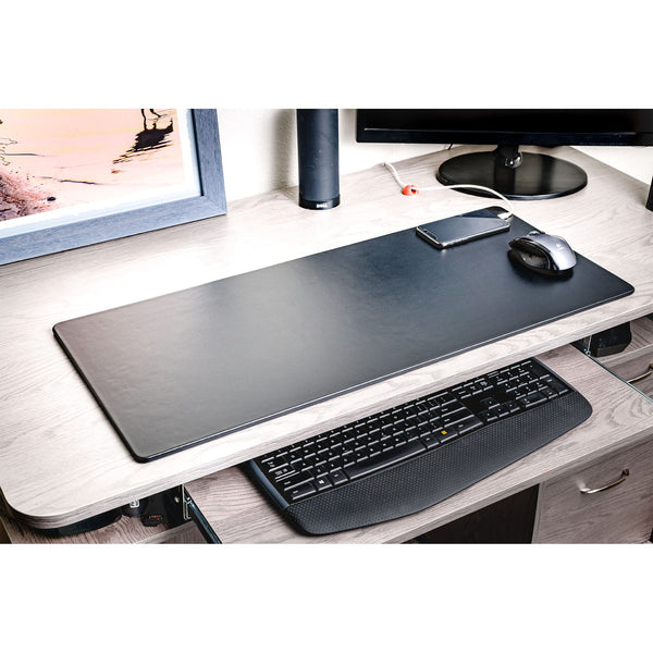 "Black Leather 30"" x 12.5"" Keyboard/Mouse Desk Mat"