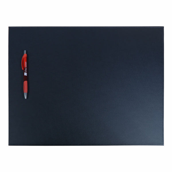 "Black Leatherette 17"" x 14"" Conference Table Pad with Stitched Edging"