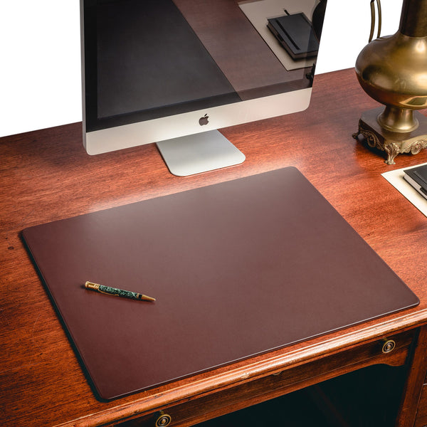 "Chocolate Brown Leather 24"" x 19"" Desk Mat without Rails"