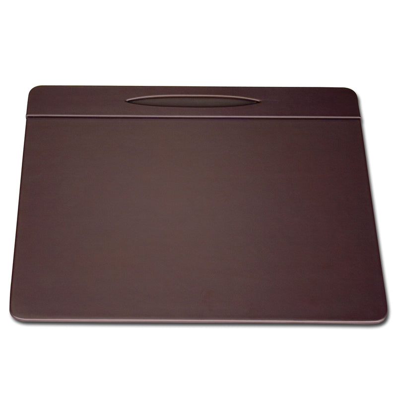 "Chocolate Brown Leather 17"" x 14"" Pen Well Conference Pad"