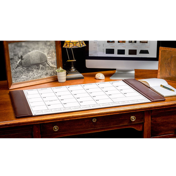 Chocolate Brown Leather Desk Pad w/ Calendar, 34 x 20