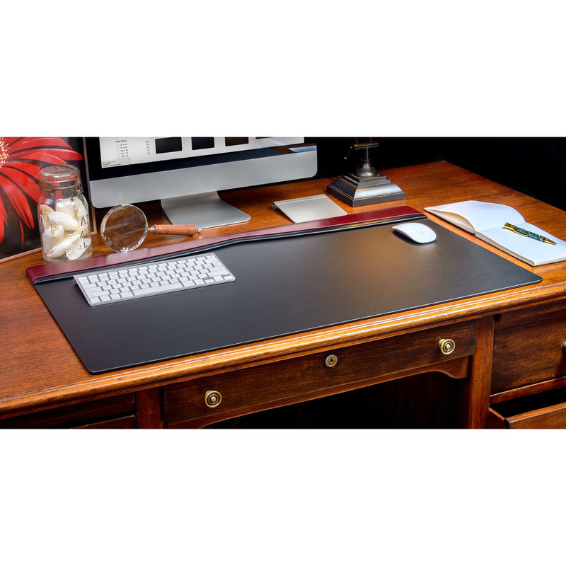 "Burgundy Leather 34"" X 20"" Top-Rail Desk Pad"