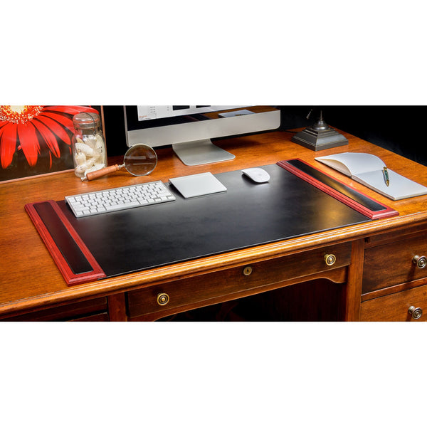 "Rosewood & Leather 34"" x 20"" Side-Rail Desk Pad"