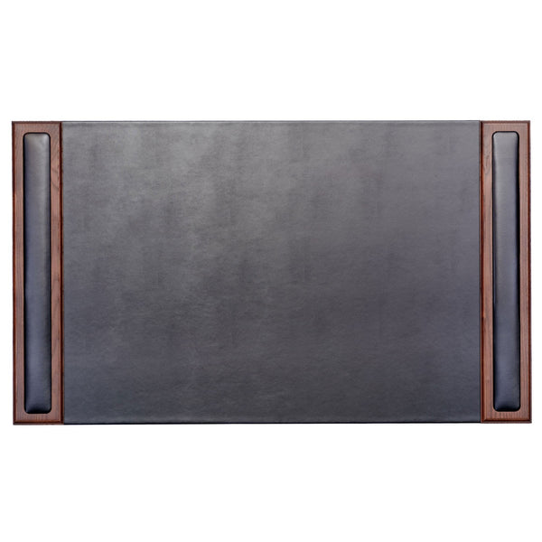 "Walnut & Leather 34"" x 20"" Side-Rail Desk Pad"