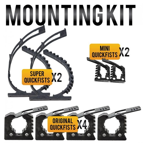 QUICK FIST MOUNTING KIT - 8 CLAMPS - 3 SIZES