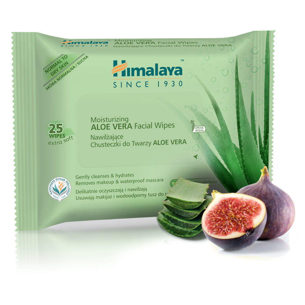 Himalaya Aloe Vera Moisturizing Facial Wipes - Gently Cleanses Skin