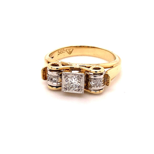 Vintage Ring Gold 585 mit 5 Brillanten - JUWEL1