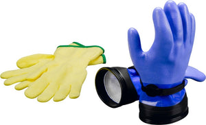 "Dry ZipGloves ""Heavy-Duty"" (Blue) & Liners - All About Scuba"