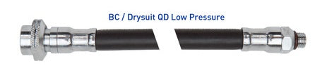 Rubber BC/Drysuit QD Low Pressure Hoses - All About Scuba