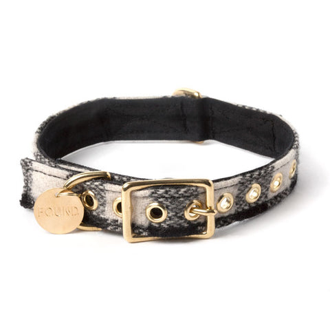 Found My Animal - Dog Collar - Black & White Plaid