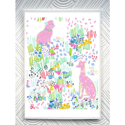 Print - Dogs In A Floral Doodle Garden