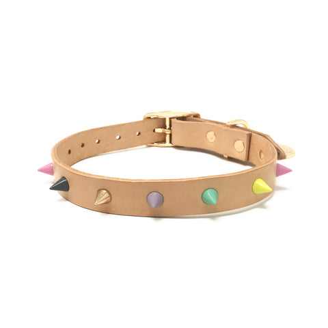 Spike Leather Collar - Pastel Party Tan